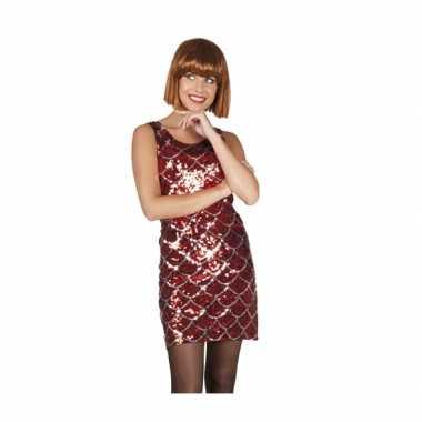 Disco glitter jurkje rood zilver pailletten