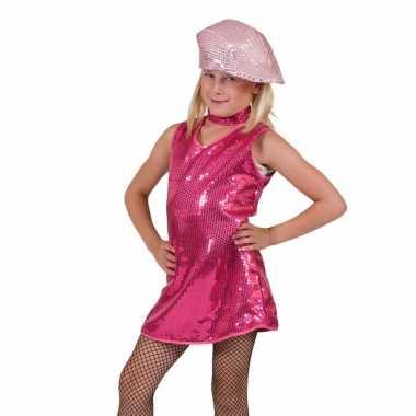 Fuchsia glitter jurkje meisjes