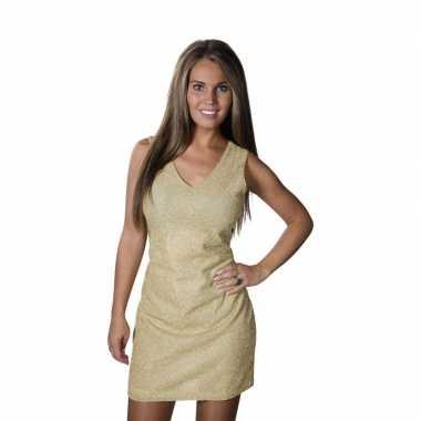 Gouden disco jurkje glitters dames