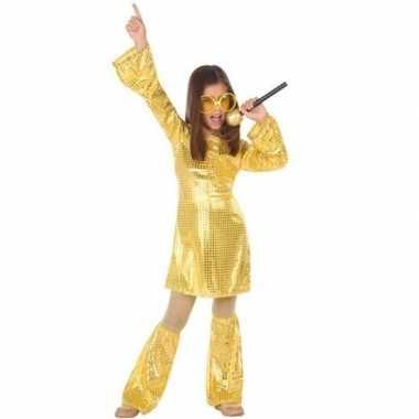 Gouden glitter disco jurkje meisjes