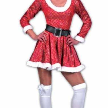Kerstvrouw jurkje muts rood