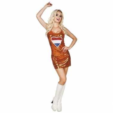 Oranje jurkje holland hart glitters/pailletten
