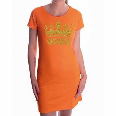 Oranje koningsdag queen jurkje gouden glitters kroon dames