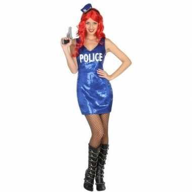 Politie glitter verkleed jurkje dames