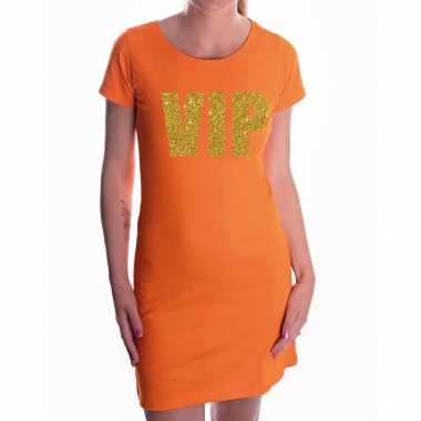 Vip goud glitter jurkje oranje dames