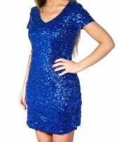 Blauwe glitter pailletten disco jurkje dames