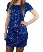 Toppers blauwe glitter pailletten disco jurkje one size dames